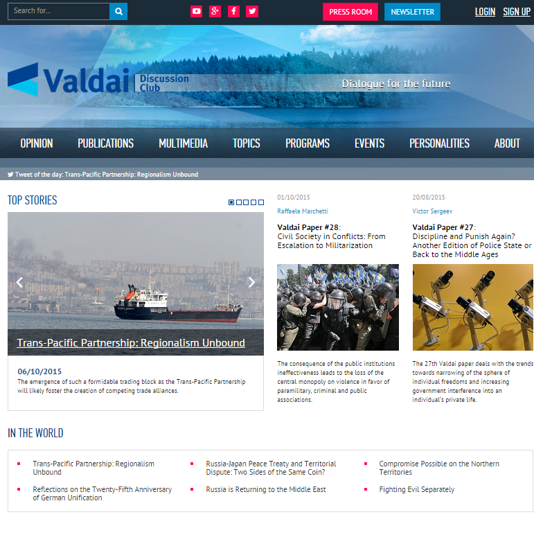 We've just finished the project for Valdaiclub.com