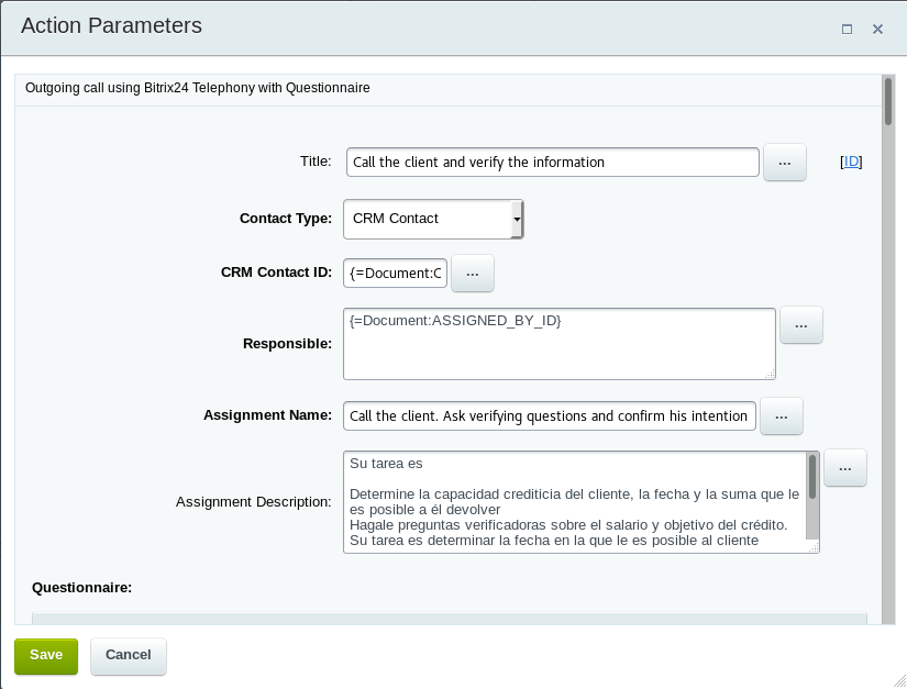 Automatic call to a customer from Bitrix24 workflows
