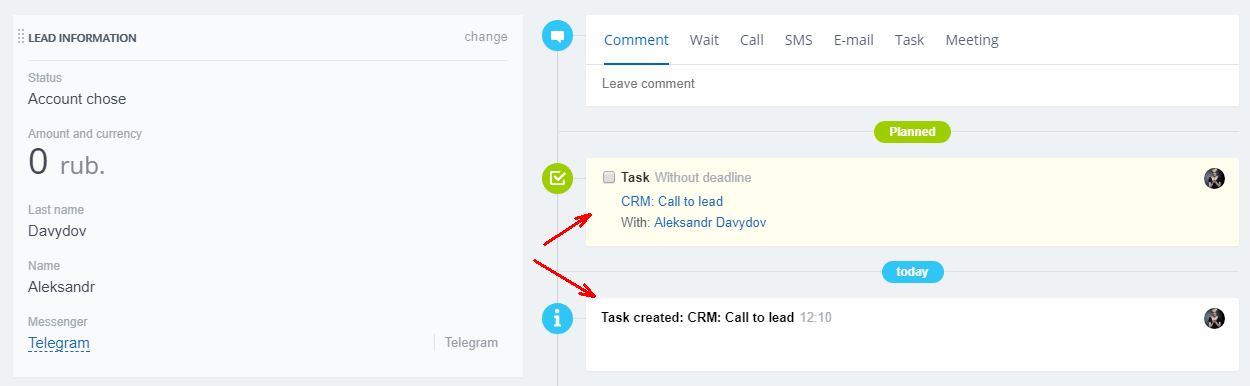 task is displayed in lead stream not comments